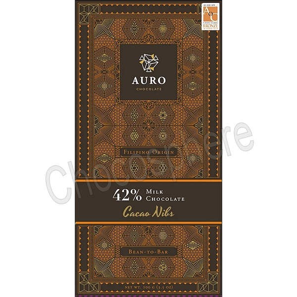 42% Milk Chocolate with Nibs Bar - 100g