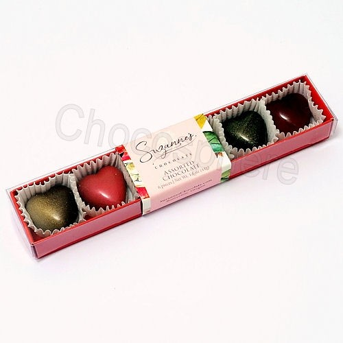 Assorted Chocolate Hearts 6-pc Box