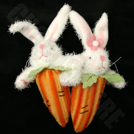Stuffed (not chocolate) bunny-carrot combo