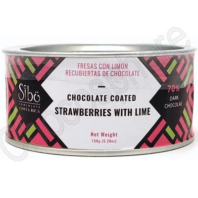 Chocolate Covered Strawberries with Lime Canister – 150g