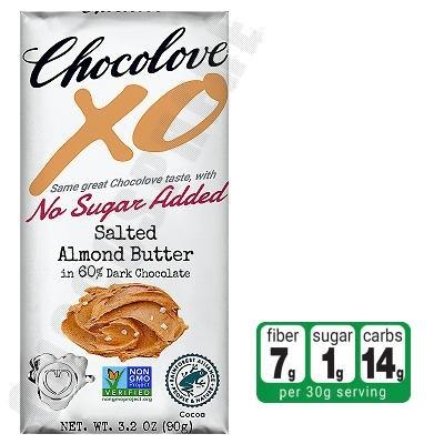 Salted Almond Butter in Dark Chocolate No-Sugar-Added Bar 3.2oz
