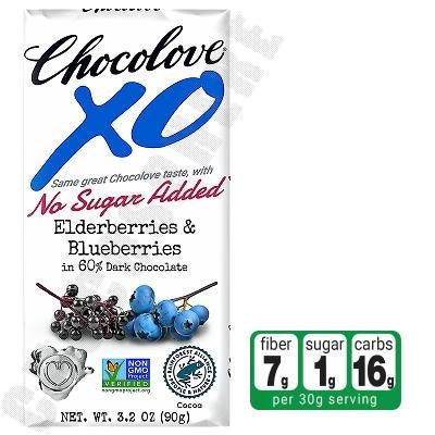 Elderberries & Blueberries in Dark Chocolate No-Sugar-Added Bar 3.2oz