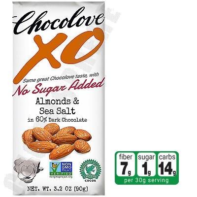 Almonds & Sea Salt Dark Chocolate No-Sugar-Added Bar