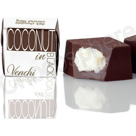 Coconut-in-Black Cubes-Dark Chocolate surrounding Coconut Cream