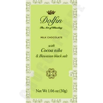 Milk Chocolate with Cocoa Nibs and Hawaiian Black Salt Mini Bar 30g