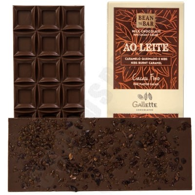 Burnt Caramel & Nibs 40% Milk Chocolate Bar - 100g