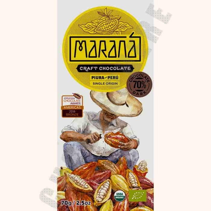 Piura Dark Chocolate Bar - 70% Cacao - 70g
