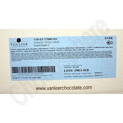 Callebaut Van Leer Dark Maltitol Sweetened Renny Dipping Compound