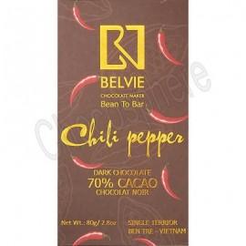 Belvie Chili Pepper 70% Cacao Chocolate Bar - 80g