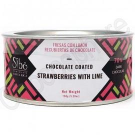 Sibo Chocolate Covered Strawberries with Lime Canister – 150g