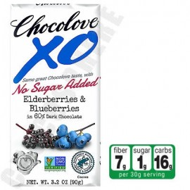 Chocolove Elderberries & Blueberries in Dark Chocolate No-Sugar-Added Bar 3.2oz