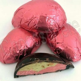 Suzanne's Chocolate Strawberry-Pistachio Filled Half Egg
