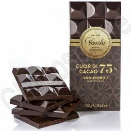 """Venchi """"Cuor di Cacao"""" 75% Cacao Extra Dark Chocolate Bar - 100g"""