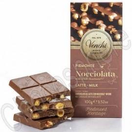 Venchi Milk Chocolate Bar with Whole IGP Piedmont Hazelnuts Bar - 100g